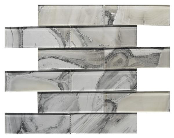 Platinum 2x6 Glass Mosaic 12x12 - EACH