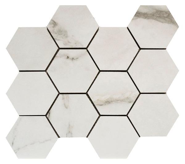 "Canova Arabescata 3"" Hexagon Matte Mosaic 14x12 - EACH"