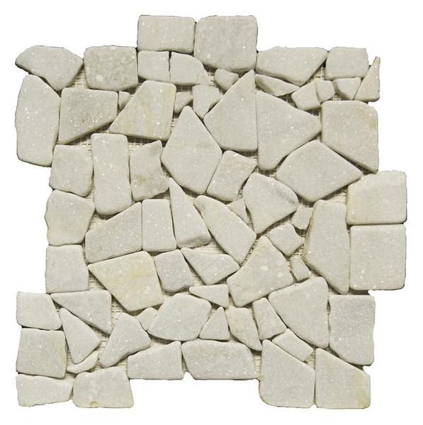 Marmol Snow White Tumbled Mosaic - EACH
