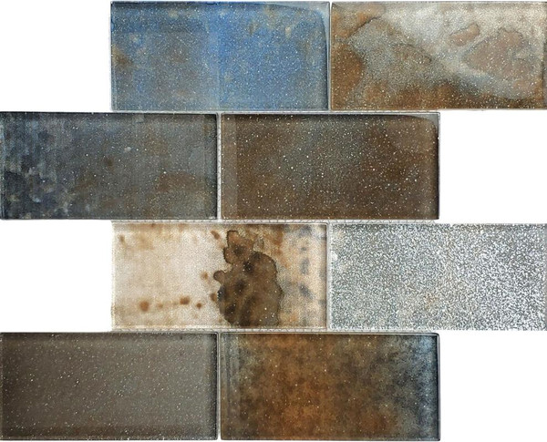 Metallic Oxide 3x6 Glass Mosaic - EACH
