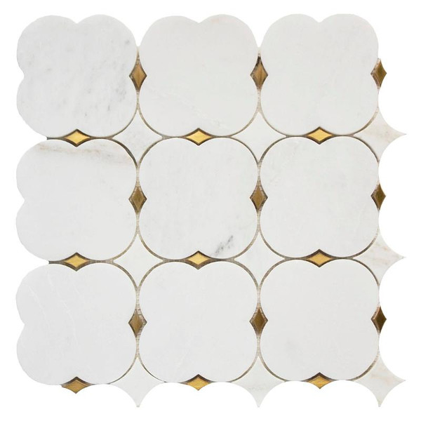 Clover Bianco with Brass Marble Mosaic 12x12 - EACH