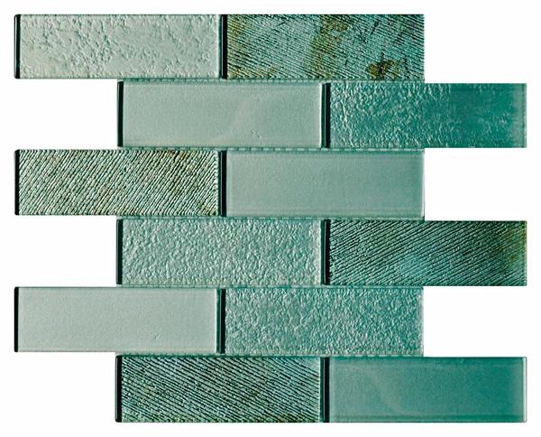 Mint Metallic 2x6 Textured Glass Mosaic - EACH