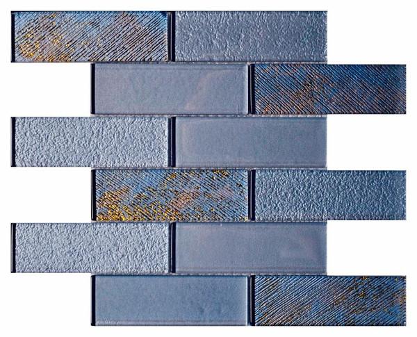 Sky Metallic 2x6 Textured Glass Mosaic - EACH