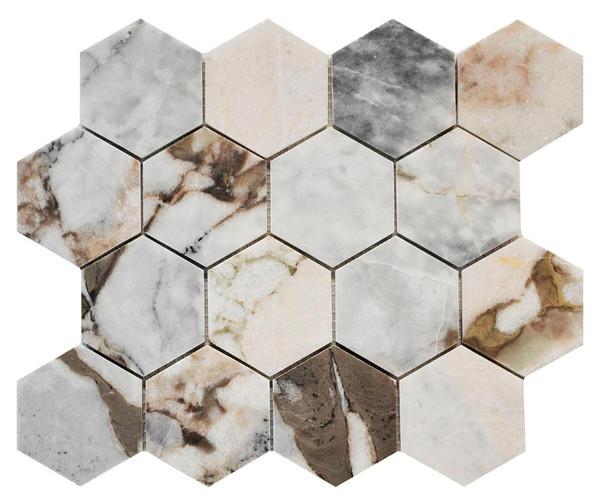 "Amazon Marble 3"" Hexagon Honed Mosaic 10.43x12.05 - EACH"