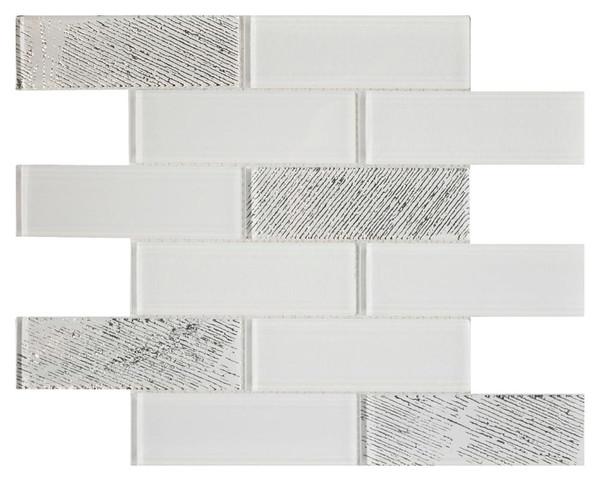 White Metallic 2x6 Textured Glass Mosaic - EACH