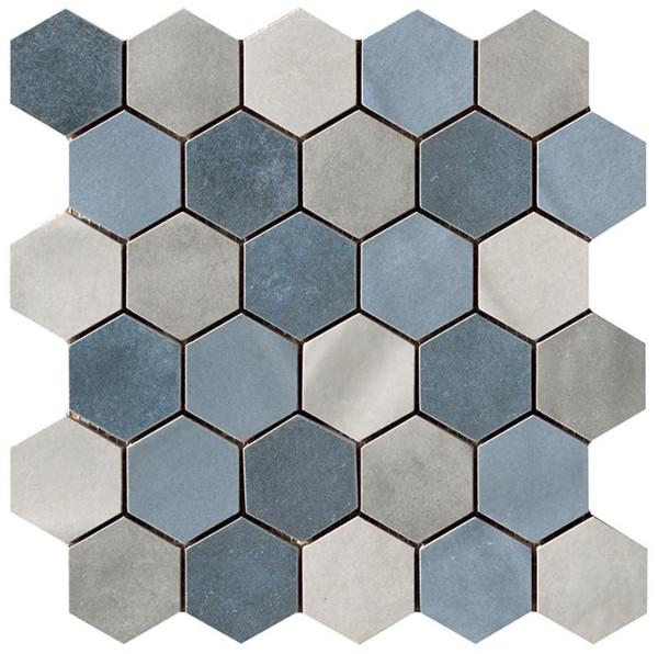 "Materia Prima Mix Blue 2"" Hexagon Mosaic - EACH"