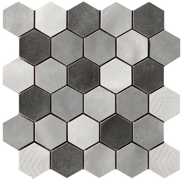 "Materia Prima Mix Grey 2"" Hexagon Mosaic - EACH"