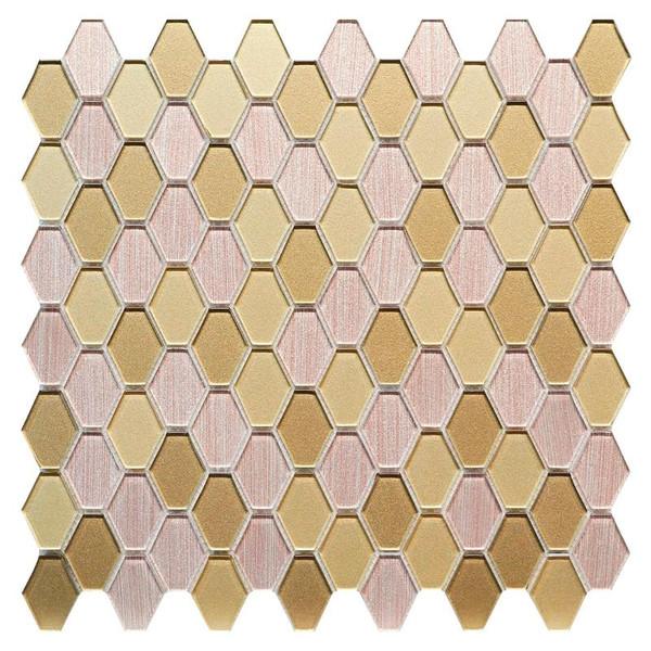 Golden Hexagon Glass Blend Mosaic - EACH