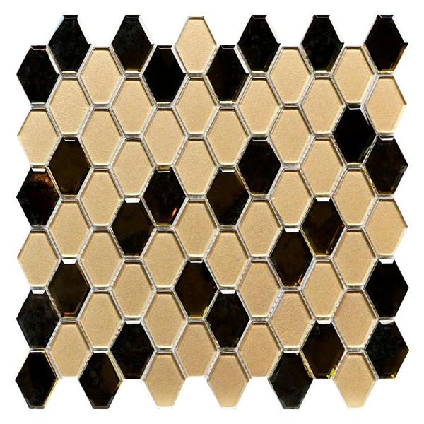 Golden Antique Mirror Hexagon Glass Mosaic - EACH