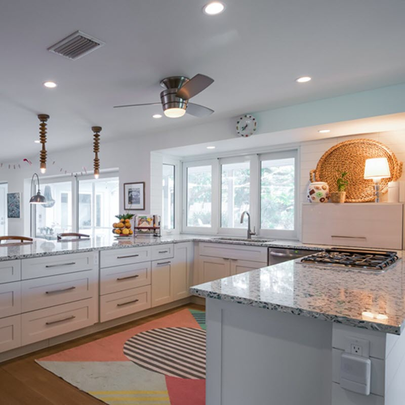 In this kitchen, you see Adornus Hampton Cabinets