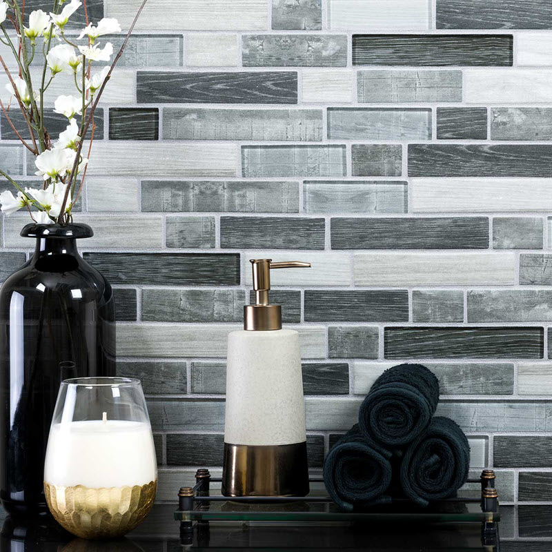 Linear glass mosaic