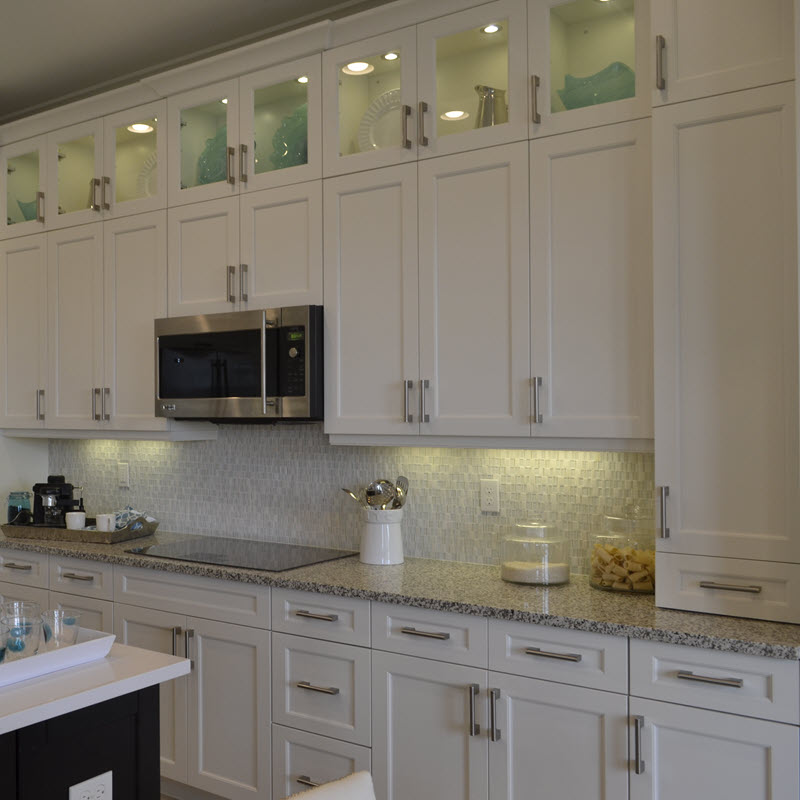Another view of Marble and glass mosaic backsplash