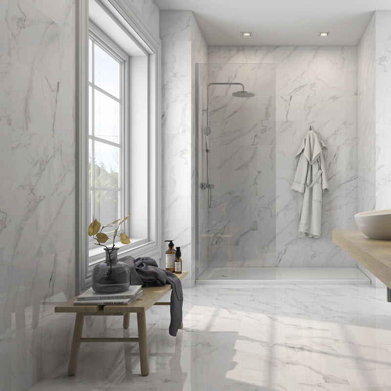 Create a soothing spa with high gloss floor and wall tile.