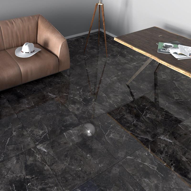Dark shiny reflective floor tile