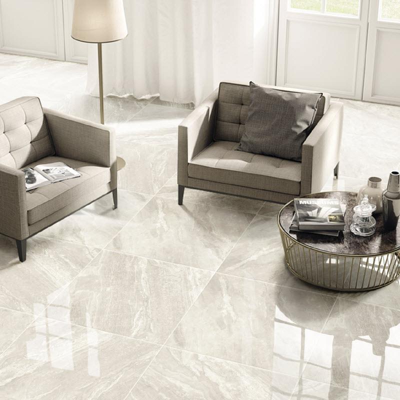 High gloss floor tile reflects light