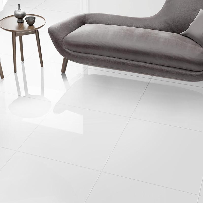 White glossy tile floors