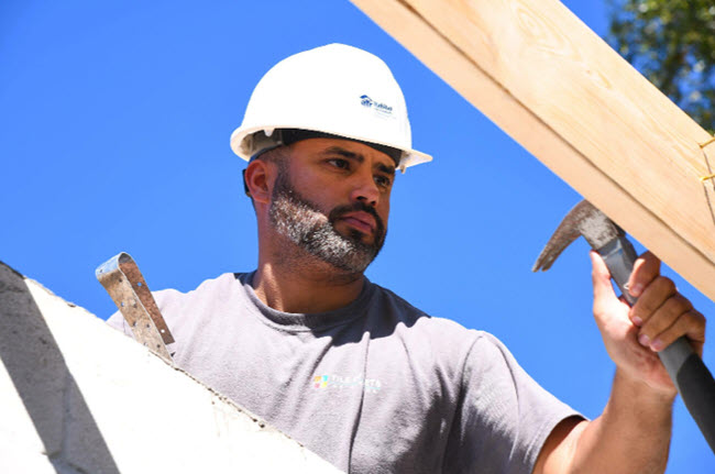 Javy Garcia from the Tile Outlets of America Tampa store participated in a Habitat for Humanity project