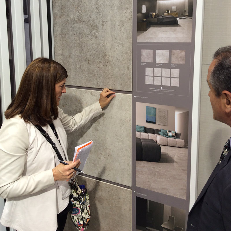 Kate learning about new tile products