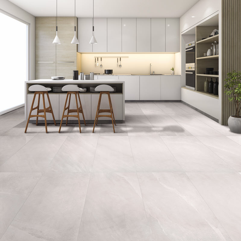 Echo the size of your cabinets with your floor tile choice