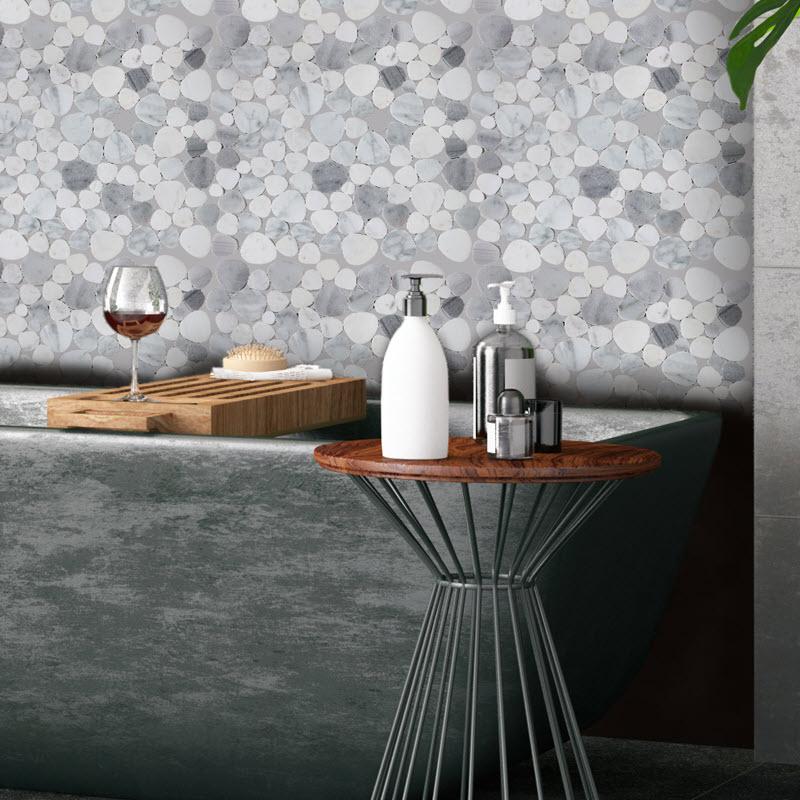 Flat marble pebbles