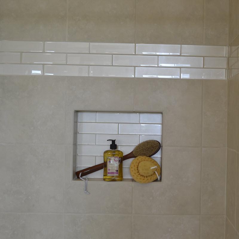 Shimmery glass subway tile