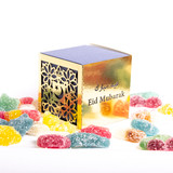 Eid Mubarak Blue & Gold Cube Gift box with Halal Sweets