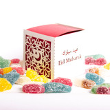 Eid Mubarak Red & White Cube Gift box with Halal Sweets