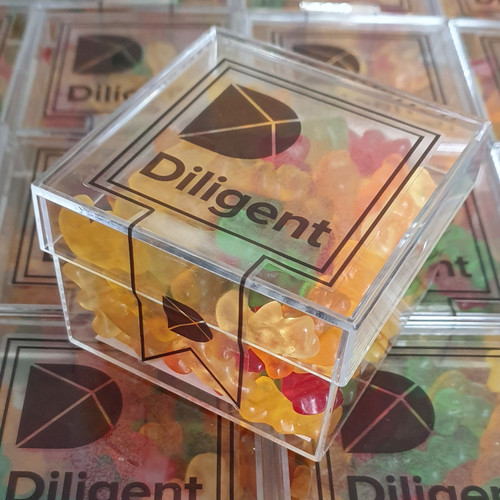 Branded Sweet Cube Boxes 150g - Clear Sticker