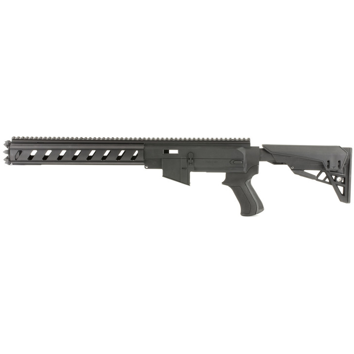 Advanced Technology TactLite  Stock System  Fits Ruger 10/22  AR-15 Replicate Polymer Receiver  Aluminum 6-sided forend and Six Position Adjustable Stock  Black Finish B.2.10.2210