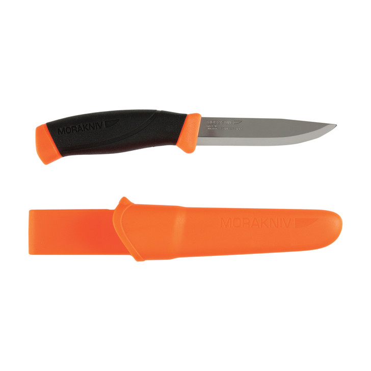 """Morakniv Companion Fixed Blade Knife  Stainless Steel Blade  Orange and Black Rubber Handle  Orange Sheath  4.1"""" Blade and 8.5"""" Overall Length M-12090"""