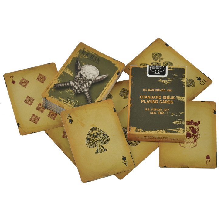 KABAR KA-BAR Playing Cards Are Reminiscent Of Decks Issued To Soldiers During WWII  But Feature Back Art Made Famous During The Afghanistan Conflict.  Faces Are Custom-Designed And All Cards Are Textured. 9914