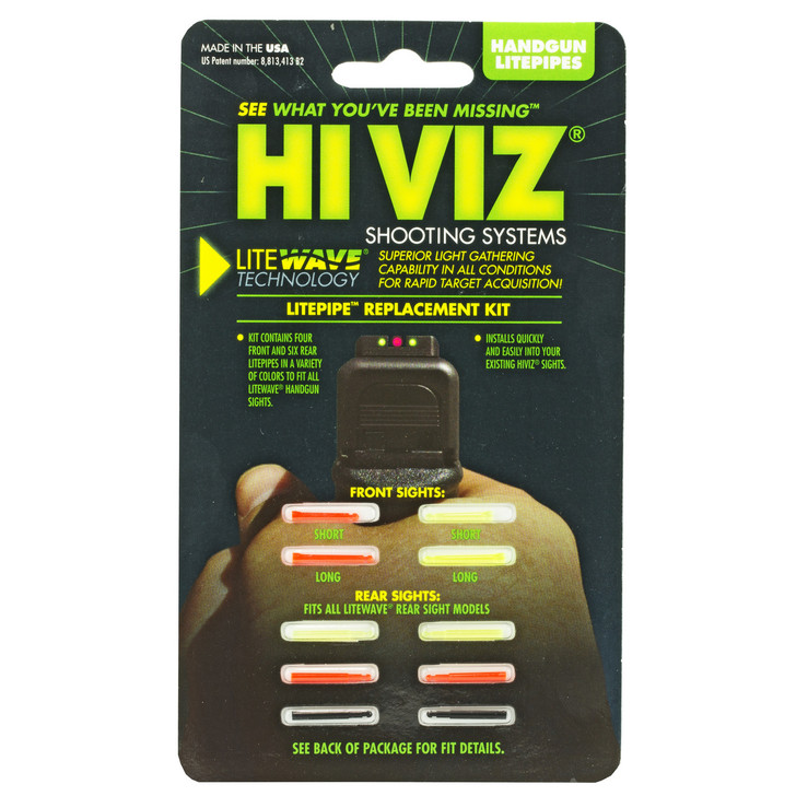 Hi-Viz LiteWave Handgun Replacement LitePipe Set. Includes Green and Red Front LitePipes in Two Sizes  Plus Green  Red and Black Rear LitePipes in One Size. Fits Any LiteWave Sight. LWH-KIT