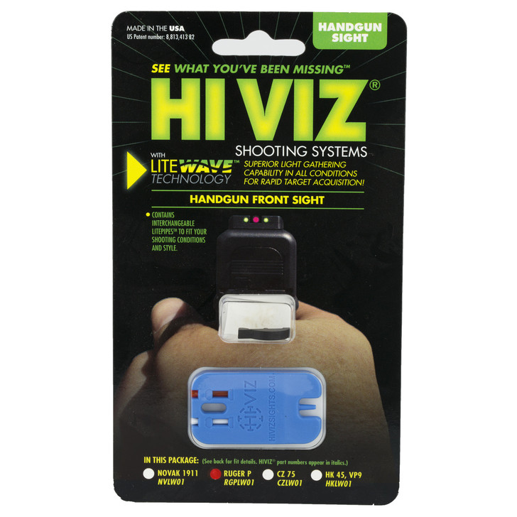 Hi-Viz Litewave Sight  Fits All Ruger P Series (except P85)  Red & Green  Front Sight RGPLW01