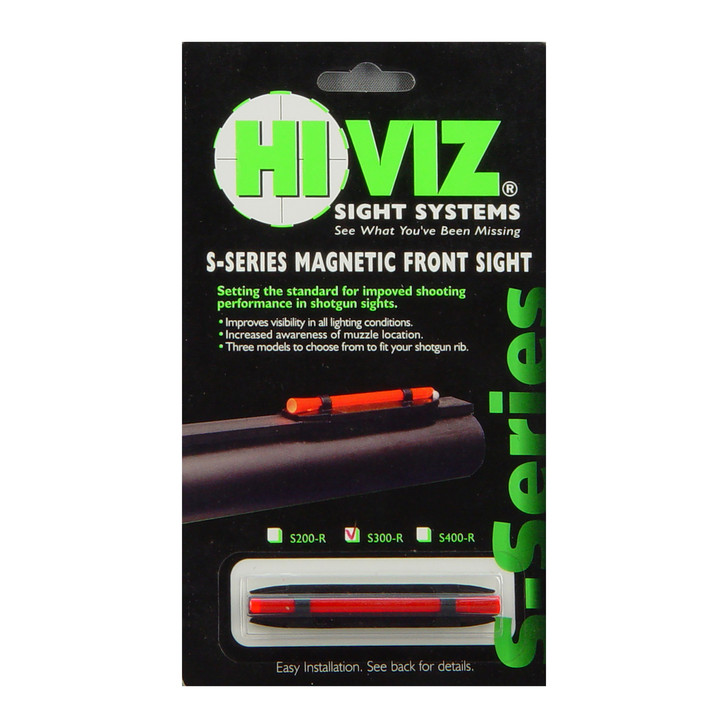 "Hi-Viz Magnetic Sight  Narrow  Fits Shotgun Rib .218""-.328""  Red S300-R"