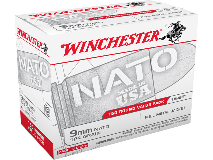 Winchester 9MM 124GR FMJ - USA9NATO - 150RD BOX - LIMIT 2