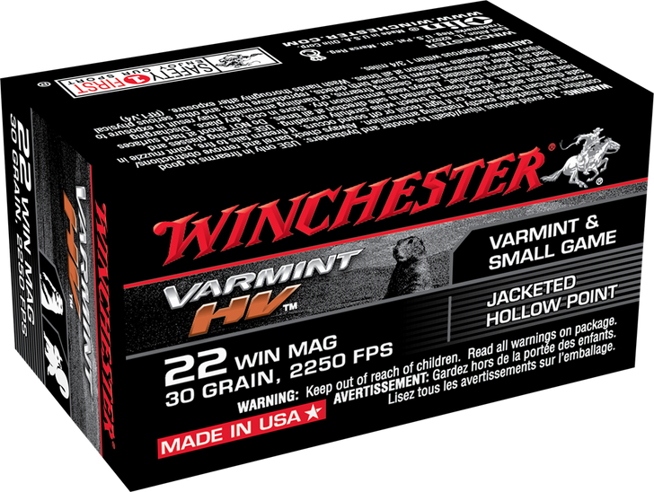 Winchester 22 MAG 30GR JHP - S22M2 - 50rd Box