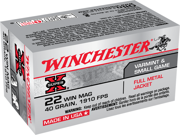 Winchester 22 MAG 40GR FMJ - X22M - 50rd Box