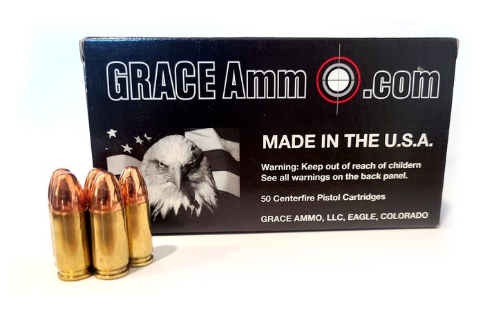 Grace Ammo 9MM  115GR FMJ NEW BRASS - 100RD  Bulk Box - Limit 2
