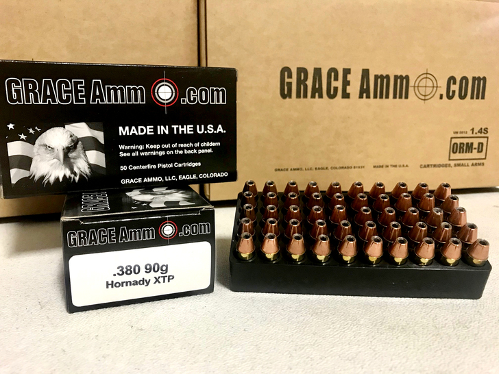 GRACE AMMO .380 ACP 90GR XTP Hollow Point NEW BRASS - 50RD BOX - LIMIT 2