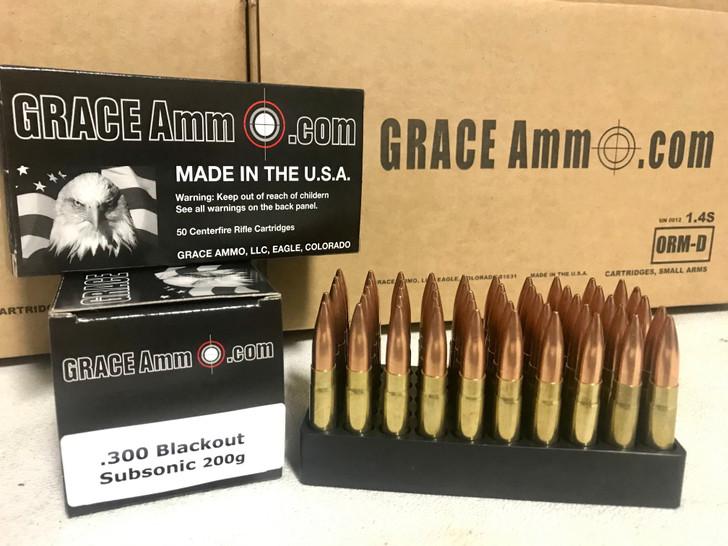GRACE AMMO 300 Blackout  200GR SMK SUBSONIC  NEW BRASS - 50RD BOX - LIMIT 2
