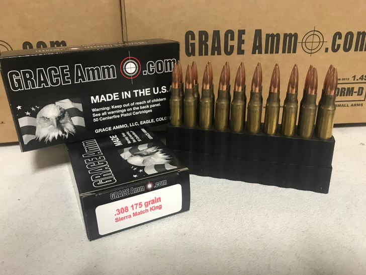 GRACE AMMO .308 Win  175GR Sierra Match King   NEW BRASS - 20RD BOX - LIMIT 3