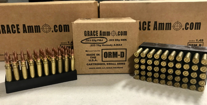 Grace Ammo .223  55GR  FMJ - REMAN BRASS  - 100RD Bulk - LIMIT 2