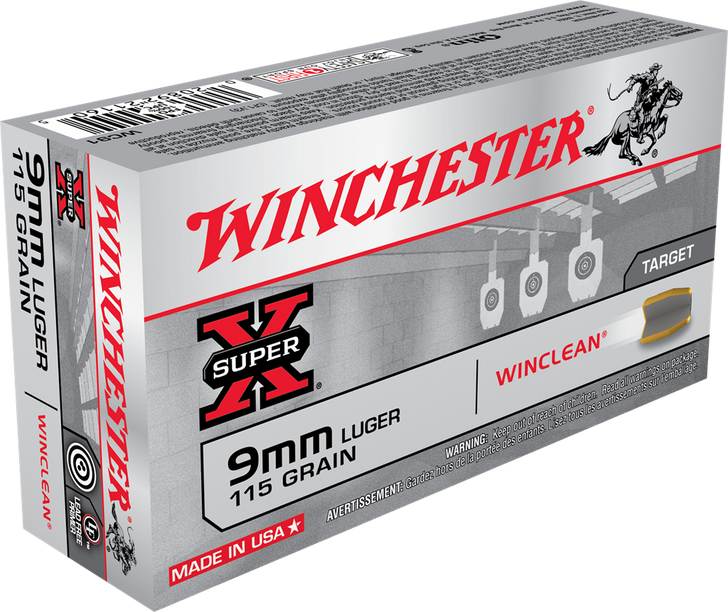 WINCHESTER  9MM 115GR FMJ WINCLEAN - WC91 -50 ROUND BOX - LIMIT 4