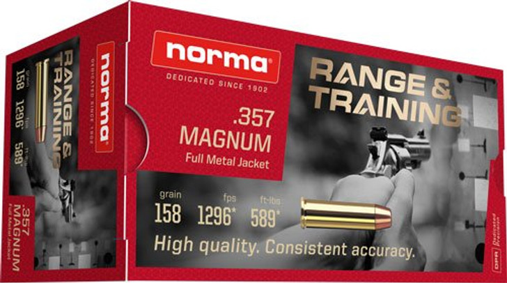 Norma 357 MAG 158gr FMJ - New Brass - 50rd Box - Limit 2