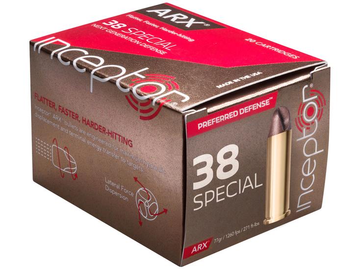 ARX Inceptor  . 38 Special 77gr - Lead Free - 20rd Box