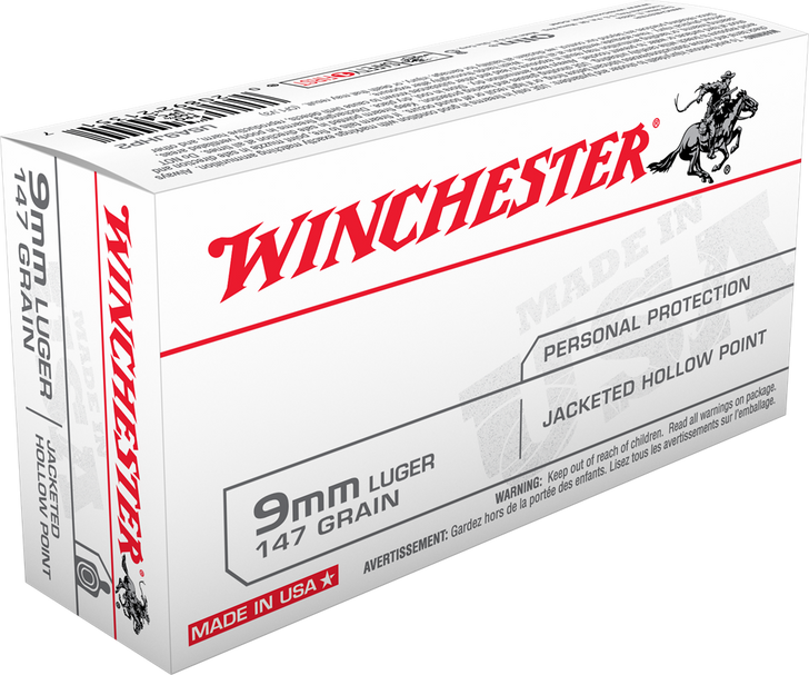 Winchester 9MM 147GR Jacketed Hollow Point - USA9JHP2 - 50RD BOX