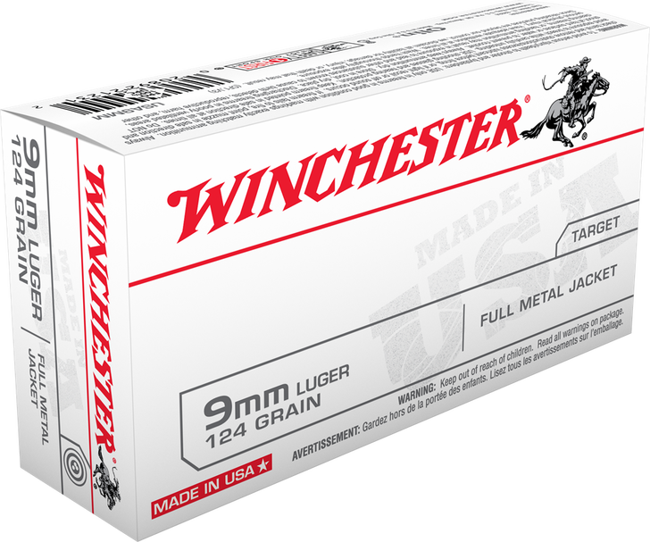 Winchester  9MM 124GR FMJ USA9MM - 50 Round Box - Limit 4