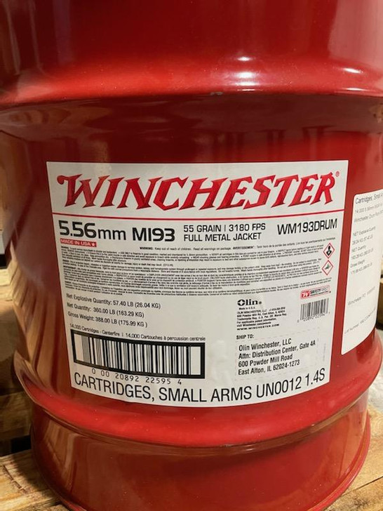 Winchester 5.56 M193 55gr FMJ - Lake City Brass - 14,000rd Drum - Free Shipping