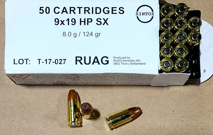 RUAG 9MM 124GR - Jacketed Hollow Point SX - Brass - 50rd Box