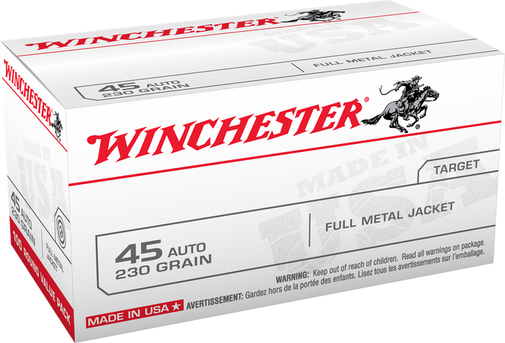 Winchester 45ACP 230GR FMJ - USA45AVP- 100RDs Bulk